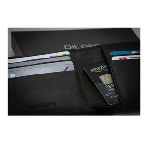 Wallet by DiLoro Italy Genuine Leather Slim Bifold Men's Wallet with RFID Blocking Technology in Dark Brown with Gift Box