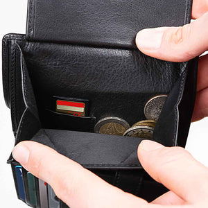 Men's Large Leather Wallet RFID Vertical 2.0 Black - Coin Compartment with SD or Sim Card Slot