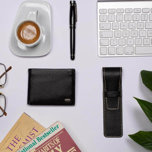 Compact Mens Leather Wallet in Black with Coin Compartment - Lifestyle Image featuring Single Leather Pen Holder by DiLoro