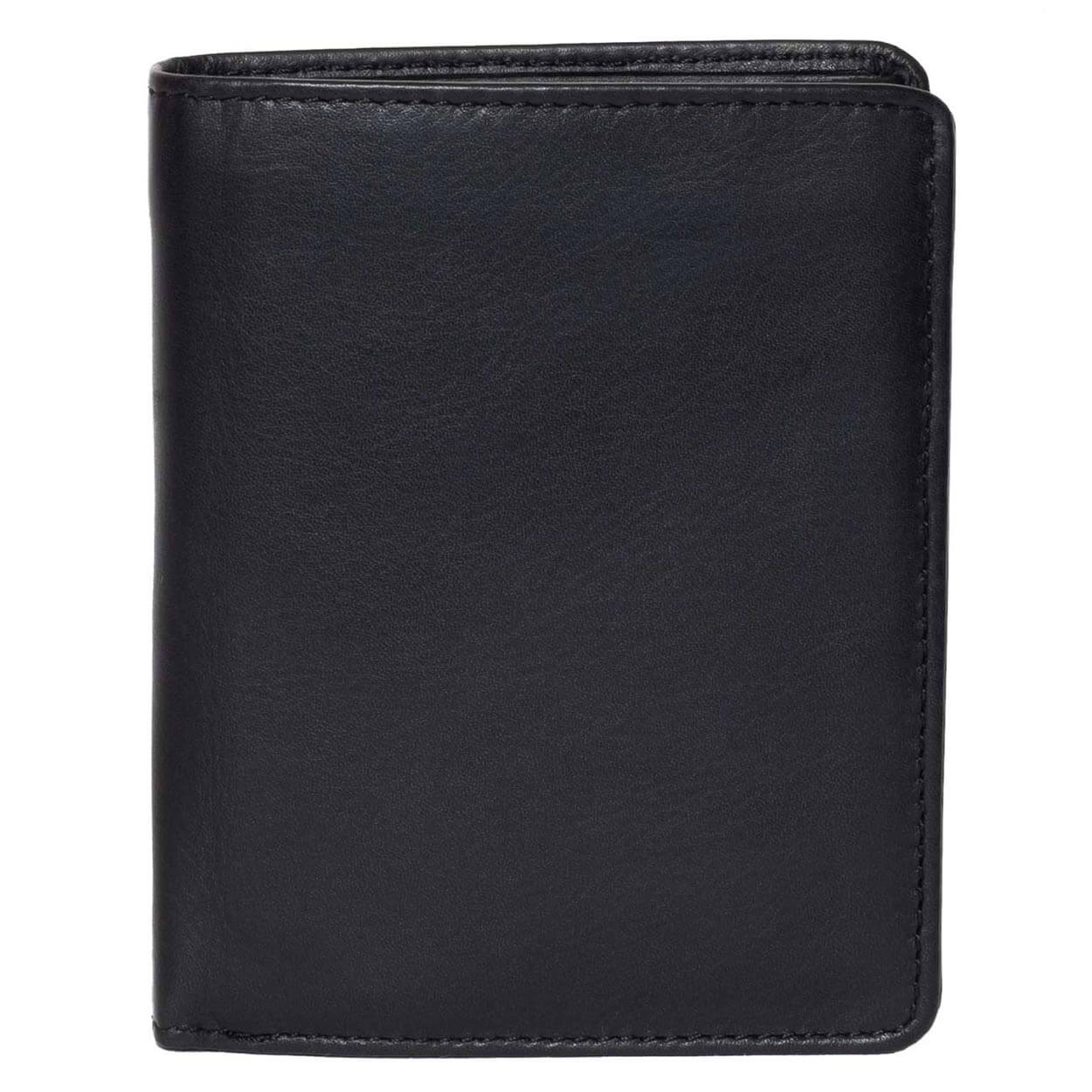 Men's Large Leather Wallet RFID Vertical 2.0 Black - Front View