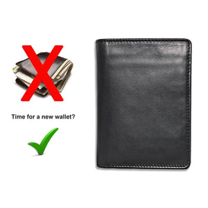 Men's Large Leather Wallet RFID Vertical 2.0 Black - Please don't overstuff your wallet