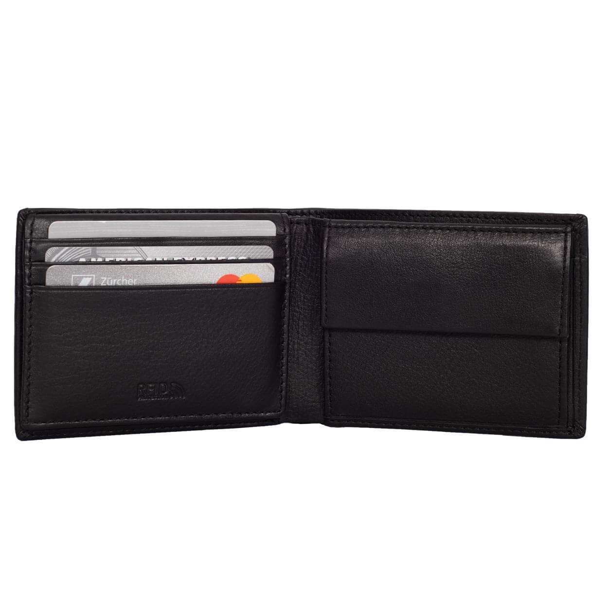 Compact Mens Leather Wallet with Coin Compartment in Midnight Black - Inside View