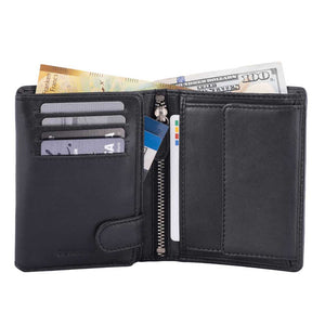 DiLoro Men's Vertical Leather Bifold Flip ID Zip Coin Wallet Black with RFID Protection  - Half Open View