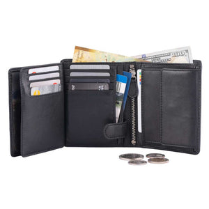 DiLoro Men's Vertical Leather Bifold Flip ID Zip Coin Wallet Black with RFID Protection - Fully Open View w/Coins