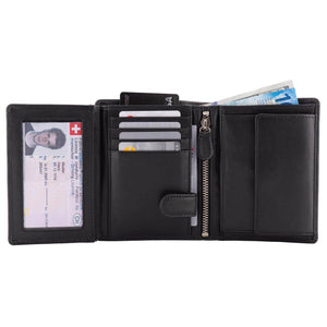 Men's Large Leather Wallet RFID Vertical 2.0 Black - Full Open