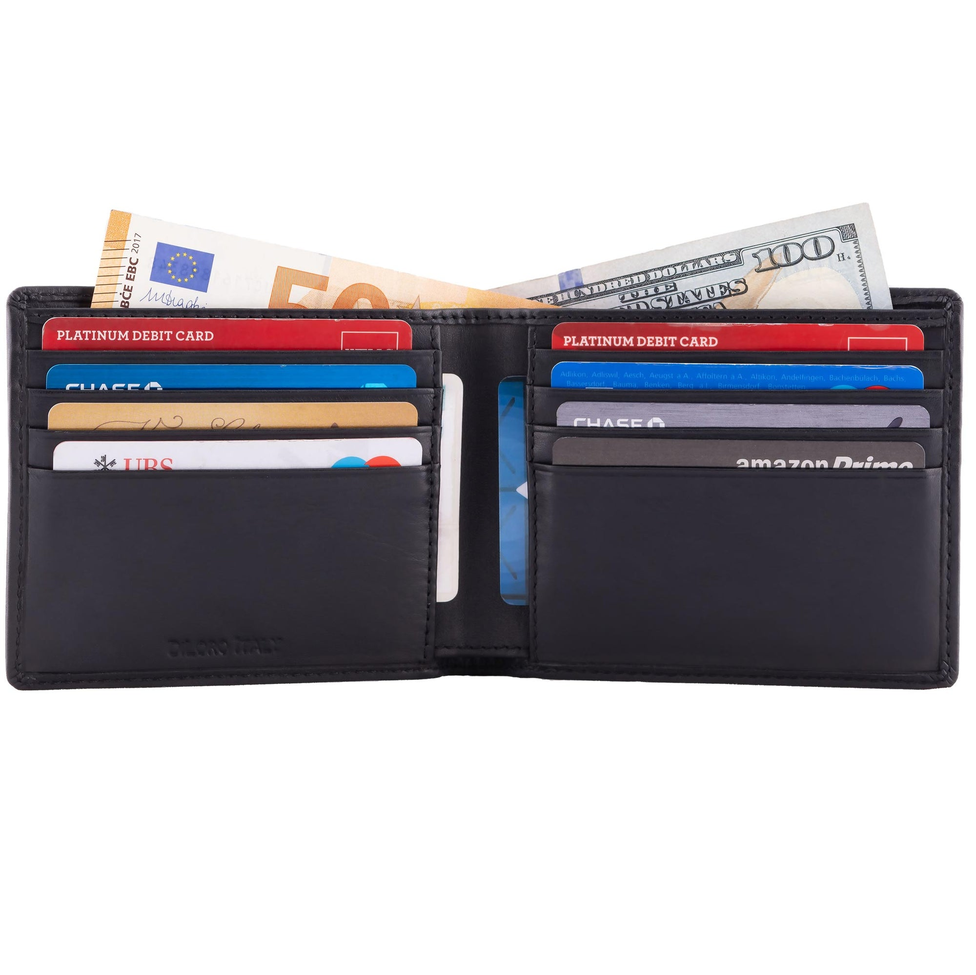 Wallet by DiLoro Italy - Full Grain Leather  Bifold Men's Wallet with RFID Blocking Technology Lugano Collection in Black