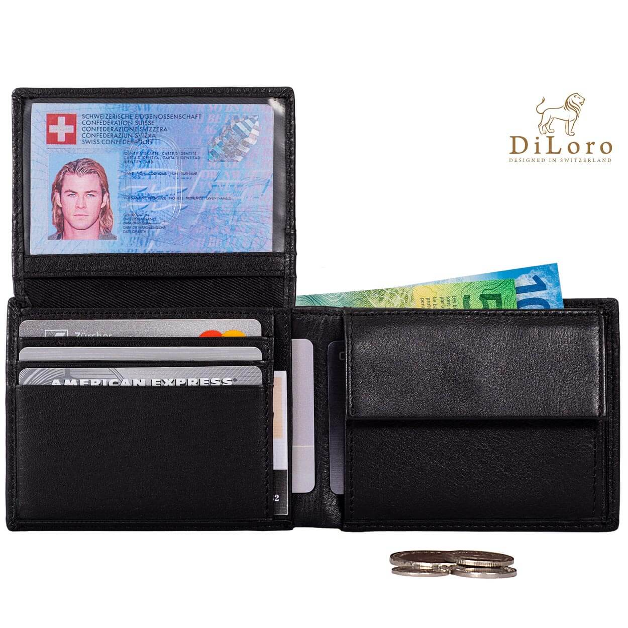 Compact Mens Leather Wallet with Coin Compartment in Midnight Black - Open View