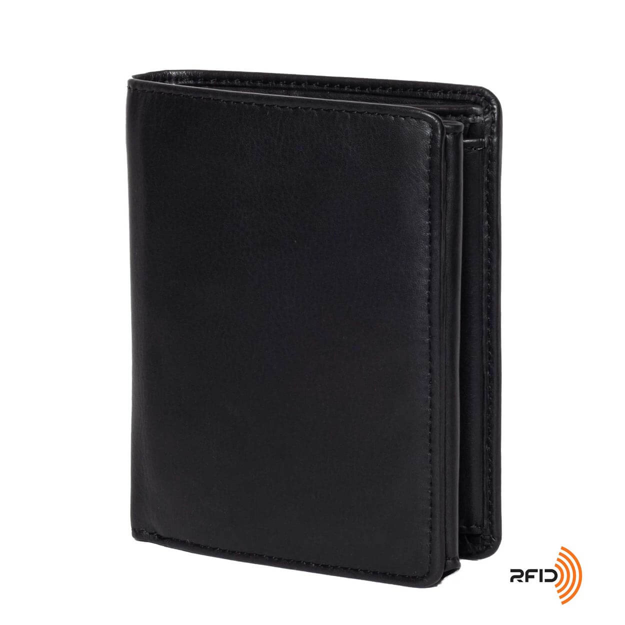Men's Large Leather Wallet RFID Vertical 2.0 Black - Front Side View