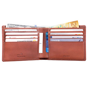 DiLoro Men's Bifold Leather Wallet Lugano Collection Bugatti Tan - Inside View