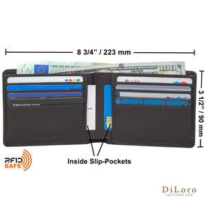 Wallet by DiLoro Italy Leather Ultra Slim Bifold Mens Wallet RFID Blocking - Dark Brown (dimensions & layout)