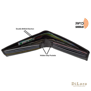 Wallet by DiLoro Italy Leather Ultra Slim Bifold Mens Wallet RFID Blocking - Dark Brown (double billfold view & slip pockets)