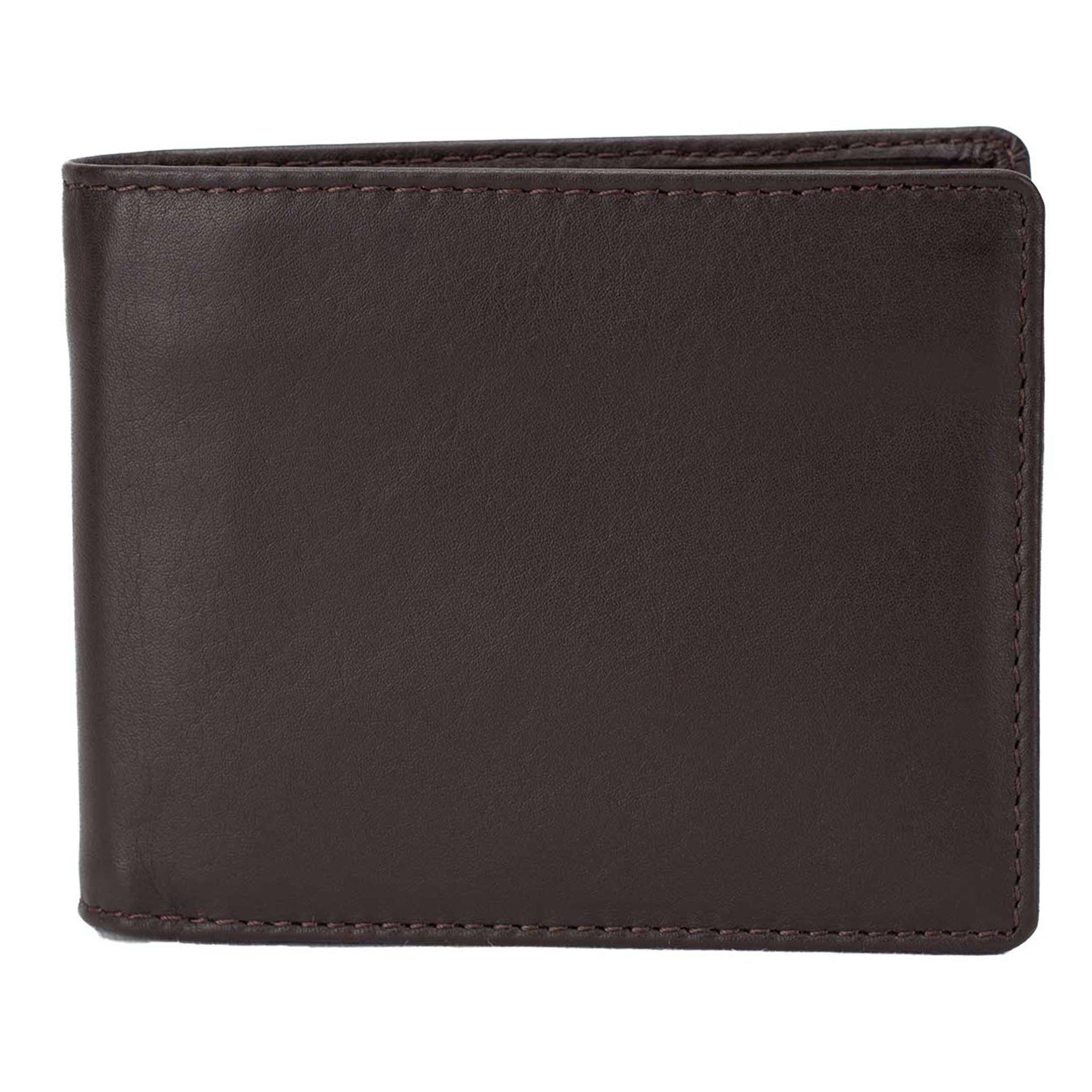 Wallet by DiLoro Italy Genuine Leather Slim Bifold Men's Wallet with RFID Blocking Technology in Dark Brown