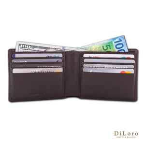 Wallet by DiLoro Italy Leather Slim Bifold Men's Wallet RFID Blocking - Dark Brown (half open)