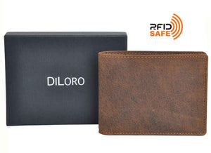 Wallet by DiLoro Italy Leather Ultra Slim Bifold Mens Wallet RFID Blocking - Dark Hunter Brown