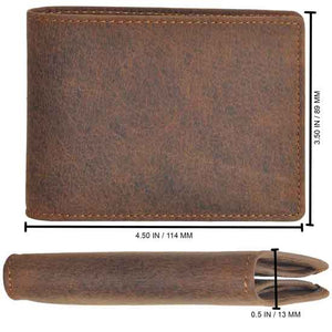 Wallet by DiLoro Italy Leather Ultra Slim Bifold Mens Wallet RFID Blocking - Dimensions for Dark Hunter Brown
