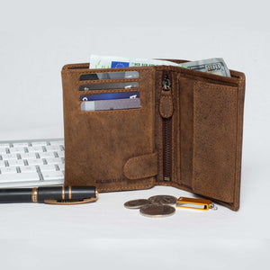 DiLoro Men's Vertical Leather Bifold Flip ID Zip Coin Wallet Dark Hunter Brown RFID Save with Visconti Pen and Keyboard
