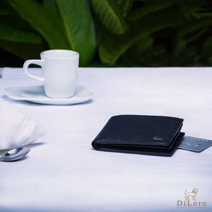 Compact Mens Leather Wallet in Black with Coin Compartment - Lifestyle Image after espresso