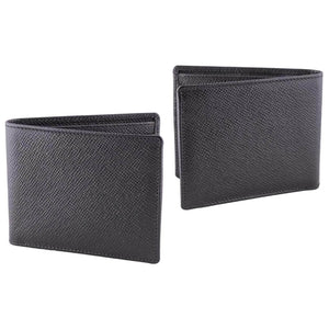 DiLoro Men's Saffiano Style Slim Bifold Leather Wallet in Firenze Black - Front  and Back Outside View