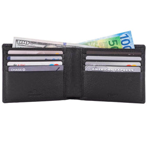 DiLoro Men's Saffiano Style Slim Bifold Leather Wallet in Firenze Black - Inside, Open View
