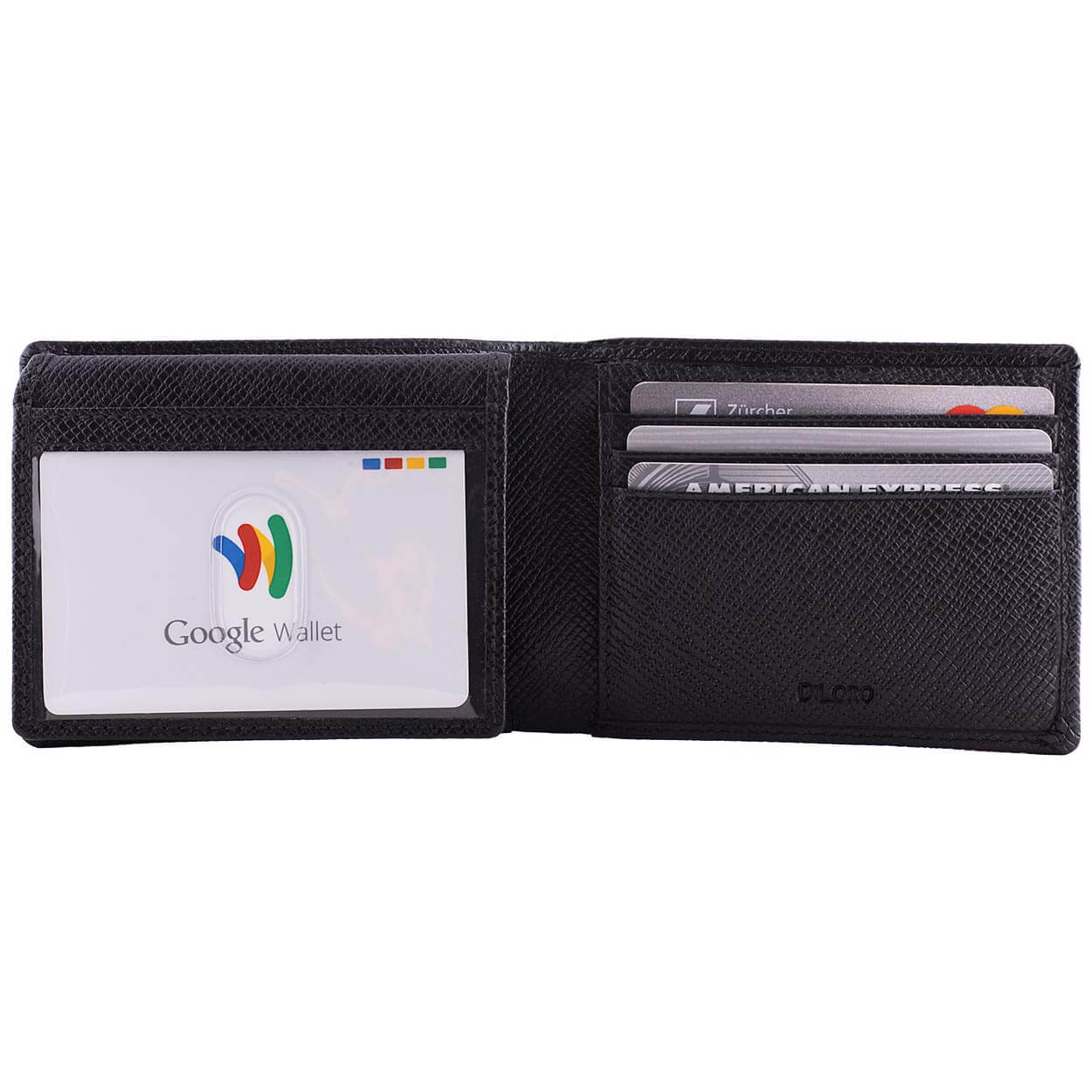 DiLoro Men's Slim Bifold Leather Wallet 2 ID Windows Black Saffiano - Front View