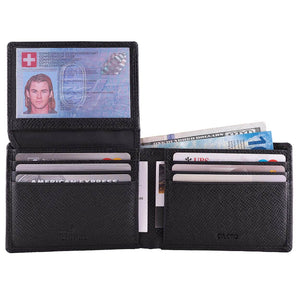 DiLoro Men's Slim Bifold Leather Wallet 2 ID Windows Black Saffiano - Open View ID Window Open (cash not included)