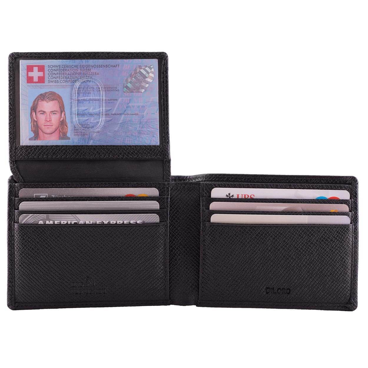 DiLoro Men's Slim Bifold Leather Wallet 2 ID Windows Black Saffiano - Open View with ID Window Open