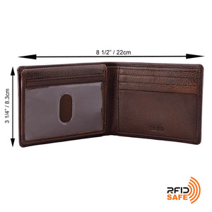 DiLoro Men's Slim Leather Wallet 2 ID Windows Gemini Brown - Dimensions Half Open ID Window down