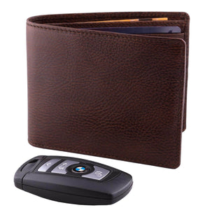 DiLoro Men's Bifold Leather Wallet Lugano Gemini Brown - Front View with BMW Key (not included)