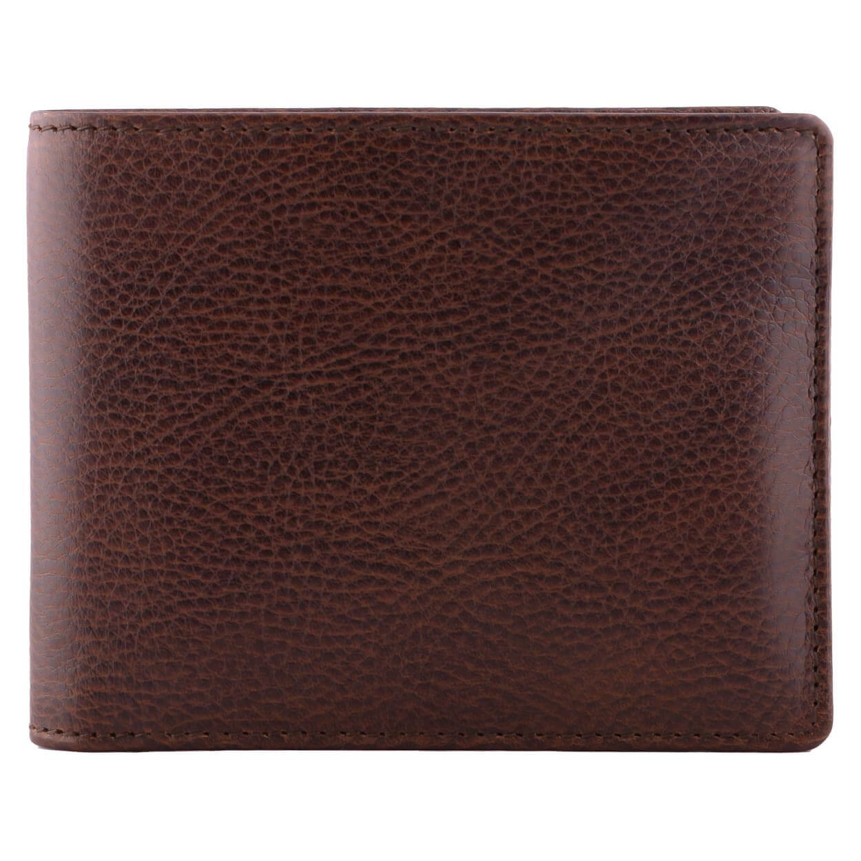 DiLoro Men's Slim Bifold Leather Wallet Gemini Brown - Front View