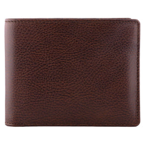 DiLoro Men's Bifold Leather Wallet Lugano Gemini Brown - Front View