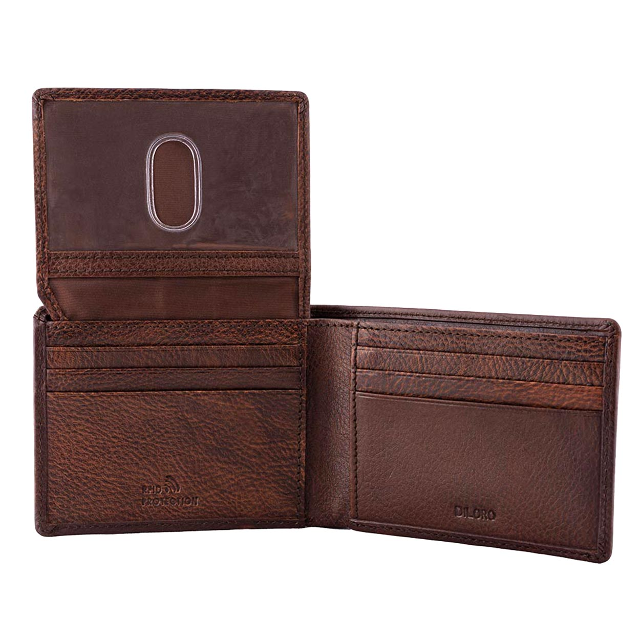 DiLoro Men's Slim Leather Wallet 2 ID Windows Gemini Brown - Open with ID Window Up, Empty Wallet