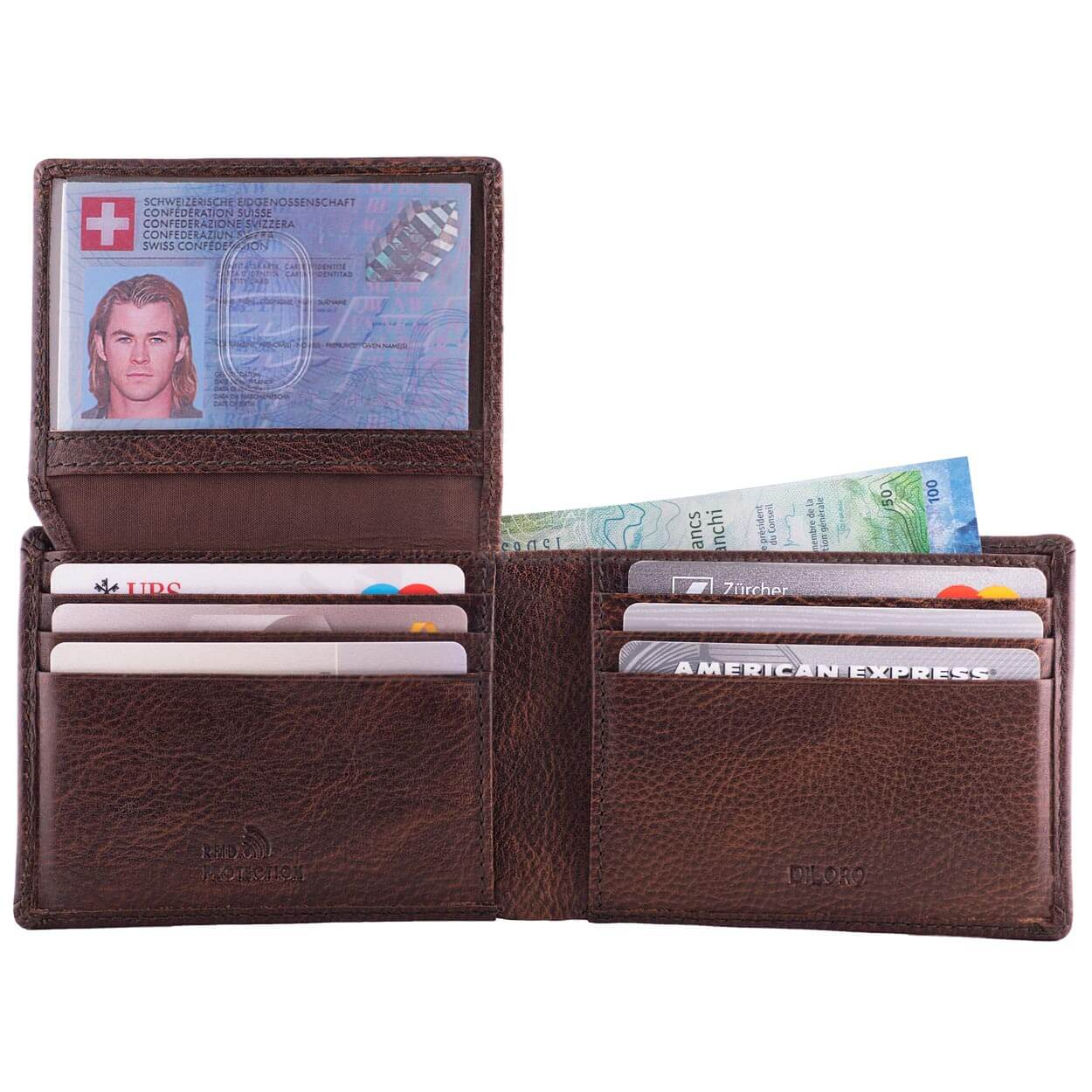 DiLoro Men's Slim Leather Wallet 2 ID Windows Gemini Brown - Open with ID Window Up (cash not included!)