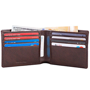DiLoro Men's Bifold Leather Wallet Lugano Gemini Brown - Open, Inside View