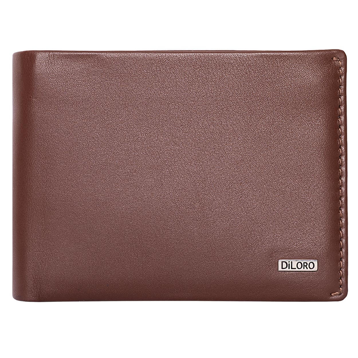 Compact Mens Leather Wallet with Coin Compartment in Hickory Brown - Front View