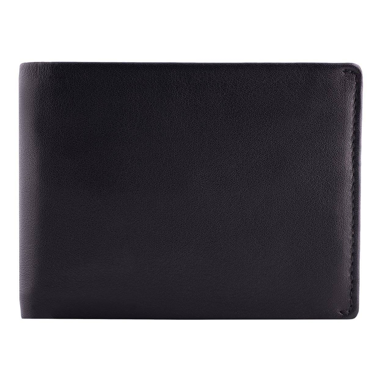DiLoro Men's Leather Wallet Bifold 2 ID Windows RFID Protection -  Napa Black Front View