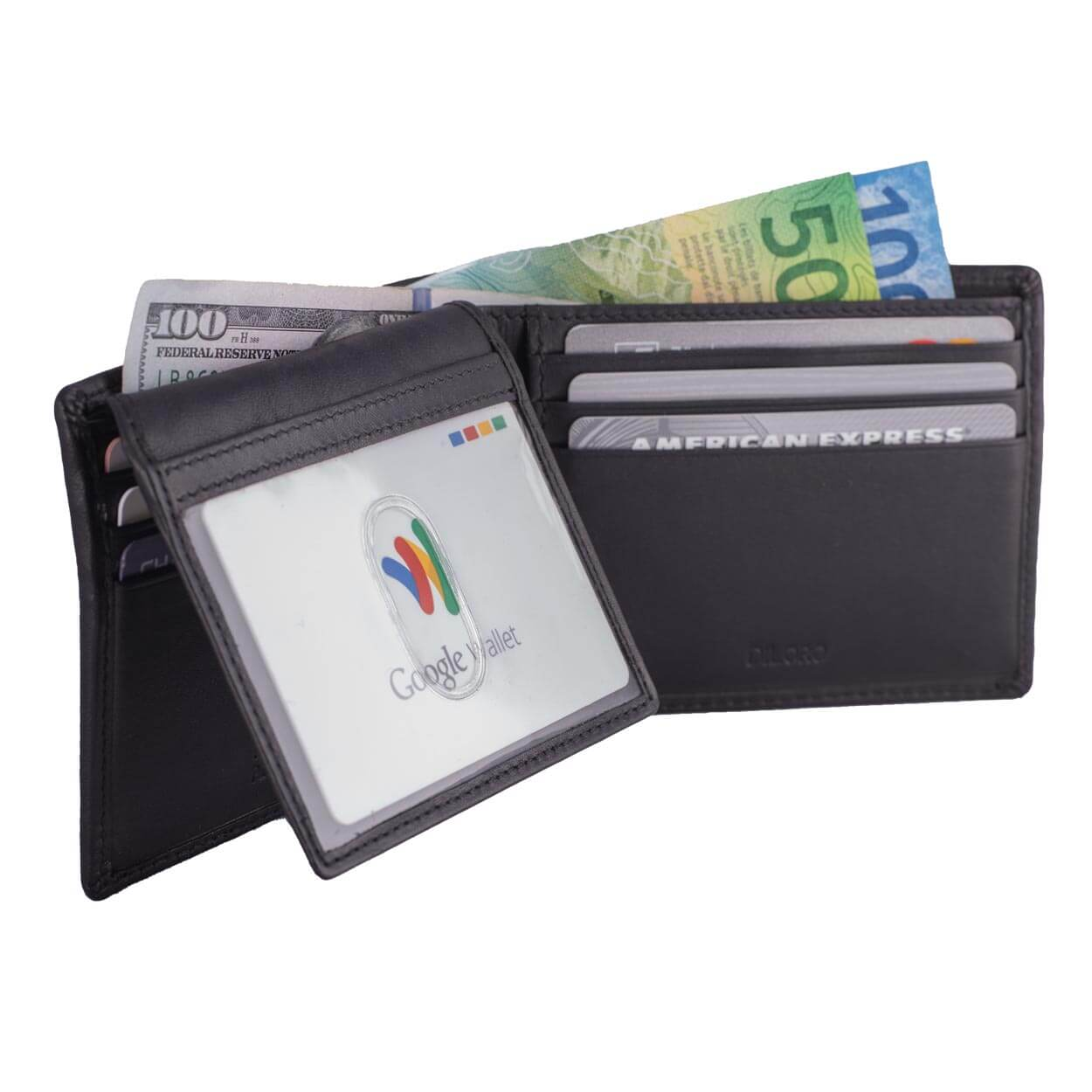 DiLoro Men's Leather Wallet Bifold 2 ID Windows RFID Protection -  Napa Black Flip ID Halfway Down