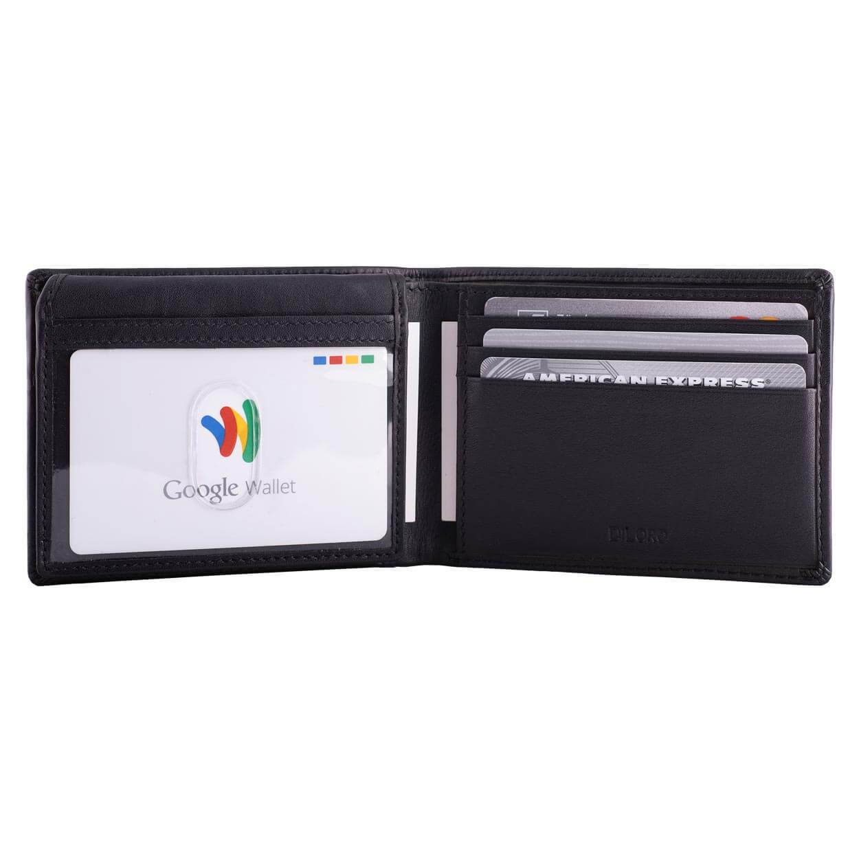 DiLoro Men's Leather Wallet Bifold 2 ID Windows RFID Protection -  Napa Black, Half Open, ID Folded Down