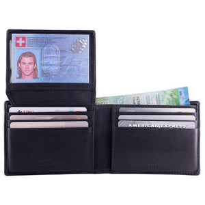DiLoro Men's Leather Wallet Bifold 2 ID Windows RFID Protection -  Napa Black Open ID with Cash (not included)