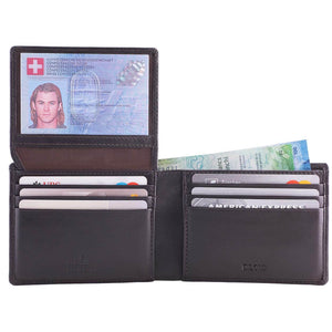DiLoro Men's Leather Wallet Bifold 2 ID Windows RFID Protection -  Napa Brown Open Inside View ID Up and Cash in Double Billfold (not included)