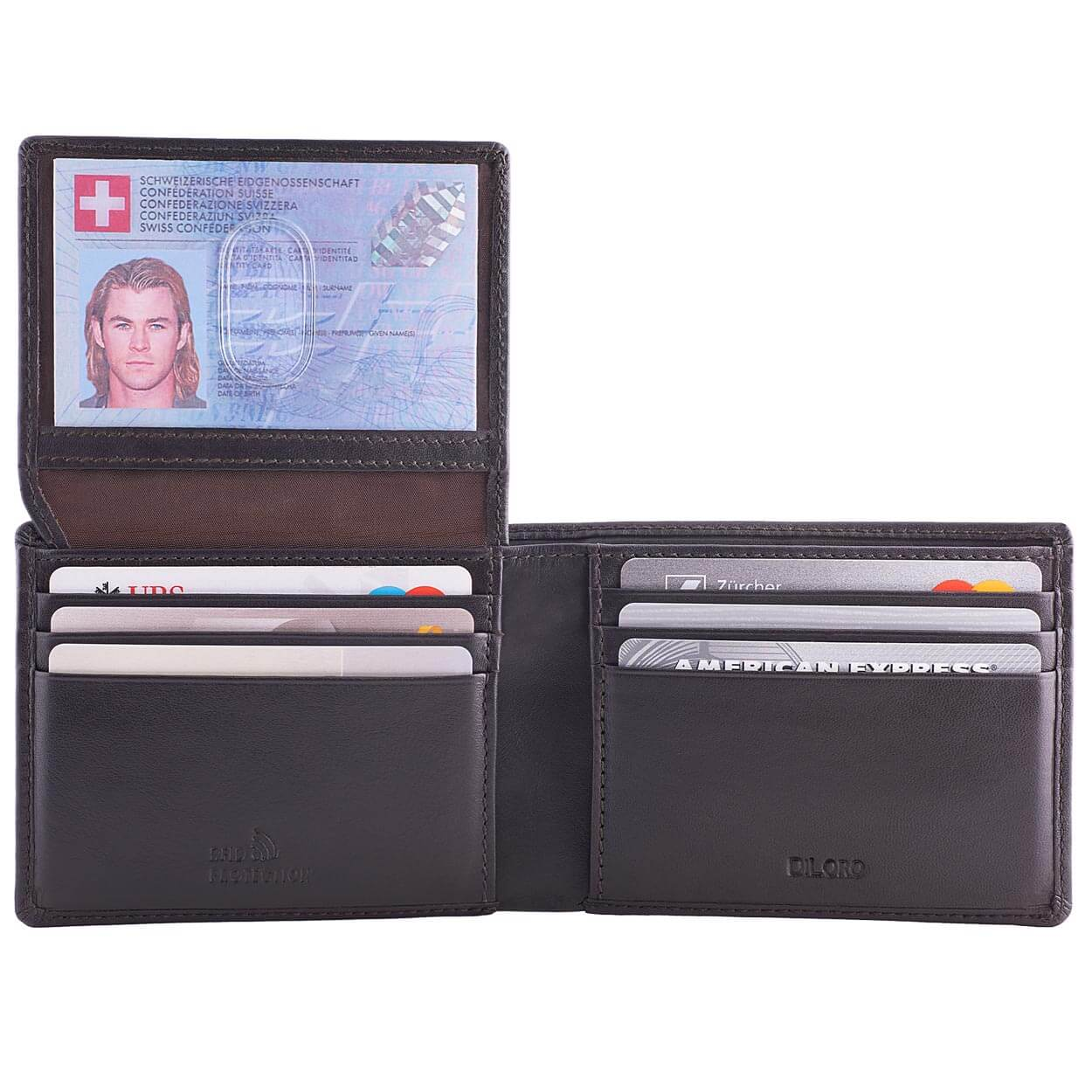 DiLoro Men's Leather Wallet Bifold 2 ID Windows RFID Protection -  Napa Brown Open Inside View ID Up