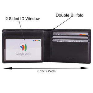 DiLoro Men's Leather Wallet Bifold 2 ID Windows RFID Protection -  Pictograph/Dimensions