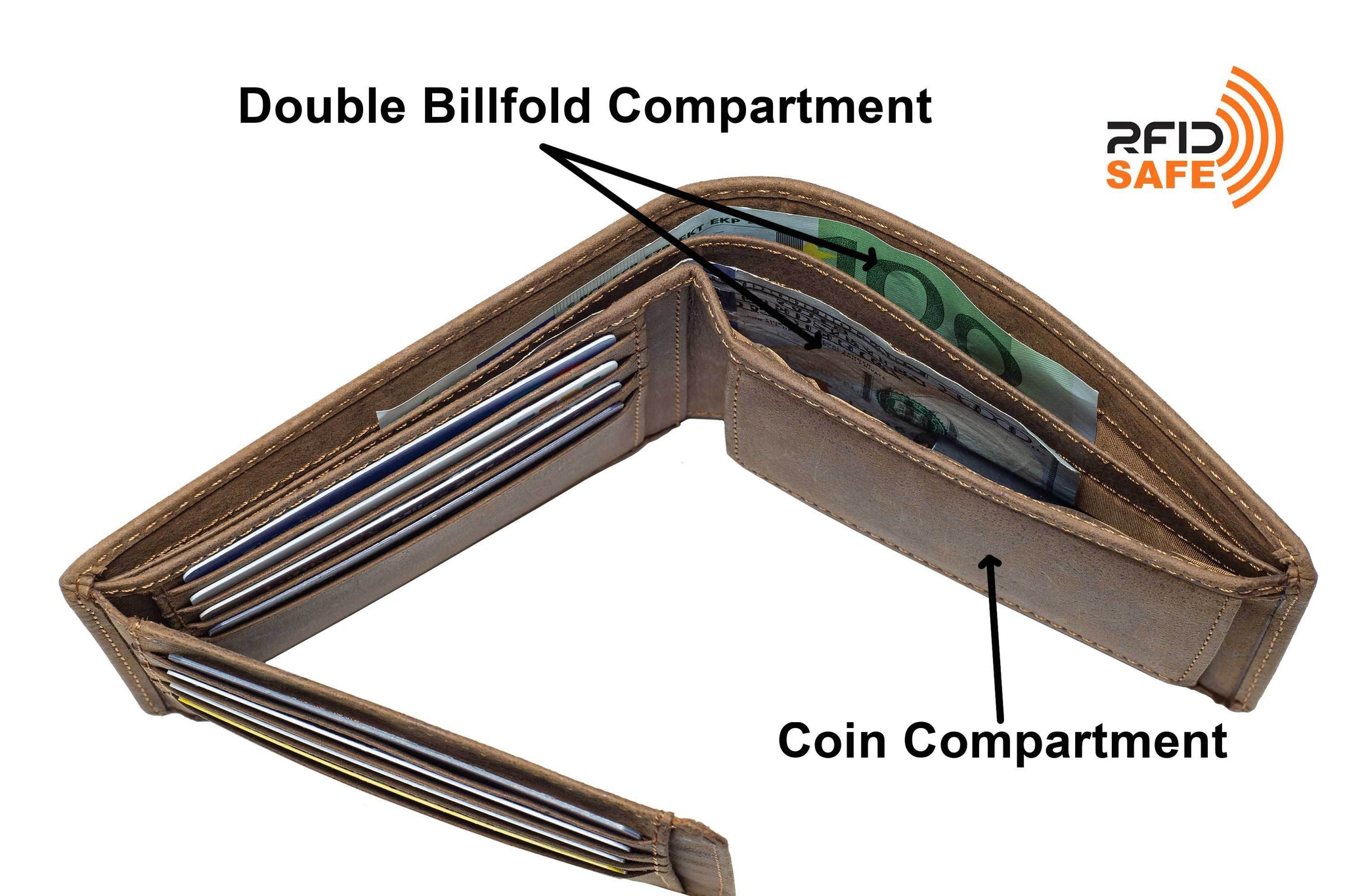 DiLoro Men's Leather Bifold Wallet with Flip ID, Coin Wallet and RFID Blocking Technology - fully open, top view showing double billfold and hidden slip pockets of the wallet