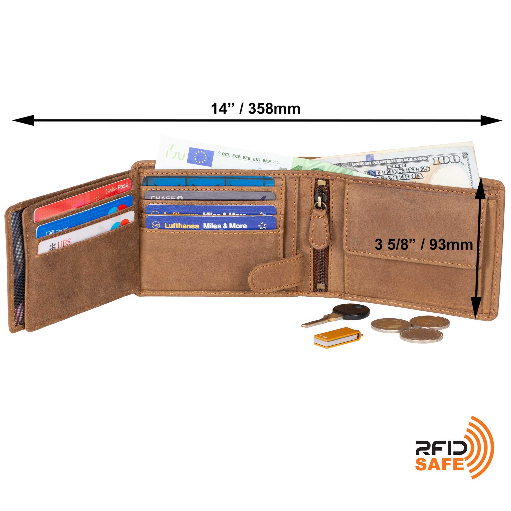 DiLoro Men's Leather Bifold Flip ID Zip Coin Wallet with RFID Protection - Dimensions