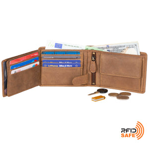 DiLoro Men's Leather Bifold Flip ID Zip Coin Wallet with RFID Protection in Natural (Light Hunter Brown) - Fully Open View