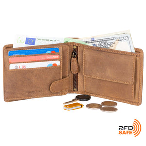 DiLoro Men's Leather Bifold Flip ID Zip Coin Wallet with RFID Protection in Natural (Light Hunter Brown) - Half Open View