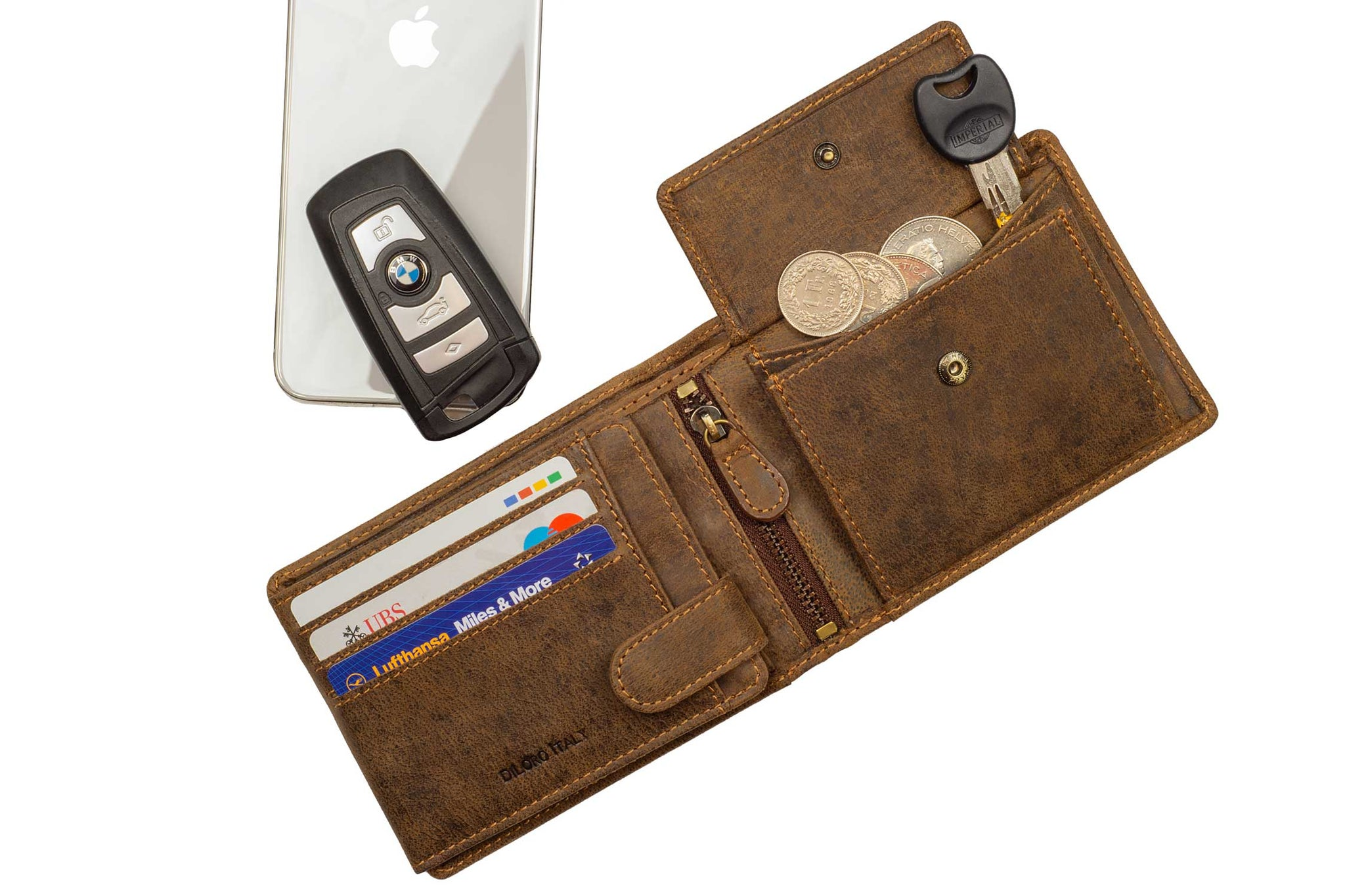 DiLoro Men's Leather Bifold Flip ID Zip Coin Wallet with RFID Protection - Shown in Dark Hunter Brown