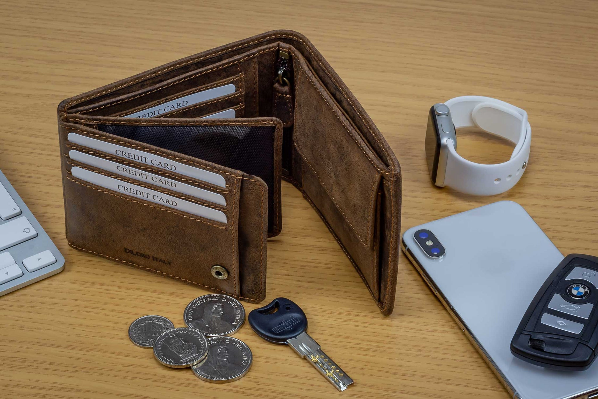 DiLoro Men's Leather Bifold Flip ID Zip Coin Wallet with RFID Protection - Shown in Dark Hunter Brown Ready to Go!