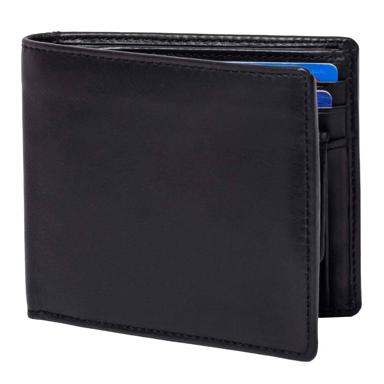 DiLoro Leather Bifold Wallet with Back Slip Pocket, Coin Section and RFID Protection