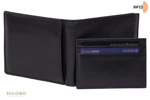 DiLoro Men's Leather Wallets RFID Blocking Technology and a  removable Card Wallet Black - Back View with Card Wallet