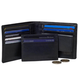 DiLoro Men's Leather Wallets RFID Blocking includes Removable Card Wallet Black - Inside View with Coin Compartment, Double Billfold, Card Wallet